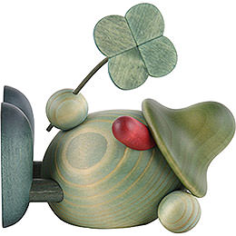 Little Green Man with Four - Leaf Clover, Lying Down  -  11cm / 4.3 inch