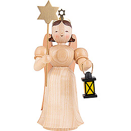 Long Pleated Skirt Angel with Lantern and Star, Natural  -  20cm / 7.9 inch