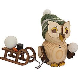 Mini Owl with Sleigh  -  7cm / 2.8 inch
