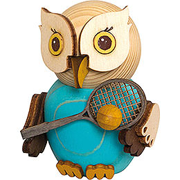 Mini Owl with Tennis Racket  -  7cm / 2.8 inch
