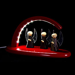 Modern Light Arch with LED  -  Angels  -  red  -  24x13cm / 9.4x5.1 inch