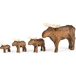 Moose Family  -  4 pieces  -  8cm / 3.1 inch