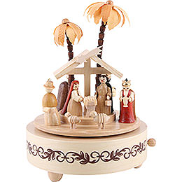 Music Box Nativity Scene Natural Wood  -  19cm / 7 inch