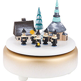 Music Box  -  Winter Villabe Seiffen with Carolers  -  White  -  14cm / 5.5 inch