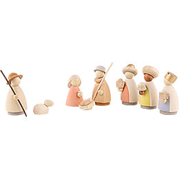 Nativity Set of 8 Pieces  -  Modern Glazed  -  8,5cm / 3.3 inch