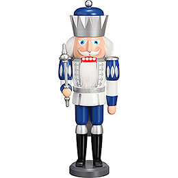 Nussknacker König Exklusiv weiß - silber - blau  -  40cm