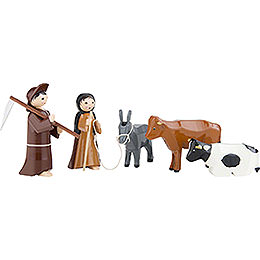 Peasants, Set of Five, Colored  -  7cm / 2.8 inch