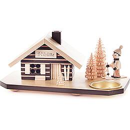 Räucherhaus Skihütte mit Skifahrer, für Teelicht  -  10cm