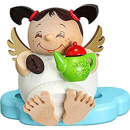 Räuchermännchen Engel mit Kaffee  -  Kugelräucherfigur  -  10cm