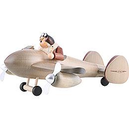 Räuchermännchen Flugzeug mit Pilot  -  Kantenhocker  -  20x40cm