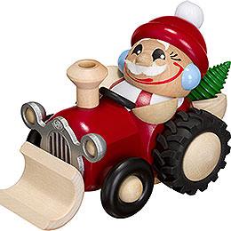 Räuchermännchen Nikolaus im Traktor  -  Kugelräucherfigur  -  11cm