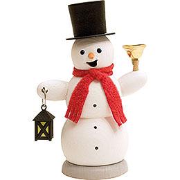 Räuchermännchen Schneemann mit Laterne und Glocke  -  13cm