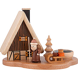 Rauchhaus mit Weihnachtsmann auf Sockel, natur  -  16x21,5x12cm
