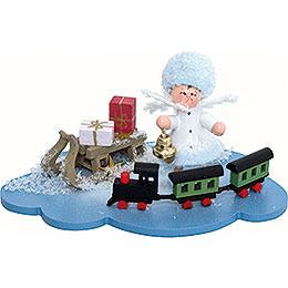 Schneeflöckchen mit Eisenbahn  -  10x7x6cm