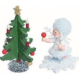 Schneeflöckchen mit Tannenbaum  -  5cm