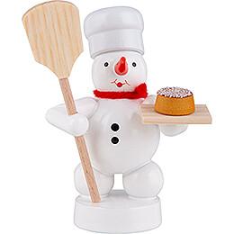 Schneemann Bäcker mit Brotschieber und Kuchen  -  8cm