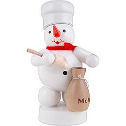 Schneemann Bäcker mit Mehlsack und Schaufel  -  8cm