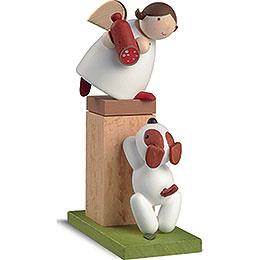 Schutzengel auf Sockel mit Hund  -  8cm