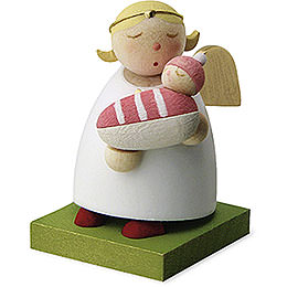 Schutzengel mit Baby  -  Mädchen  -  3,5cm
