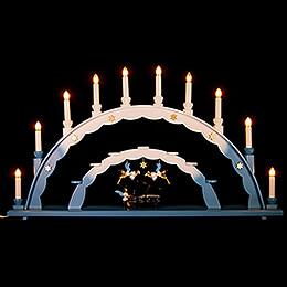 Schwibbogen mit Engel am Flügel und elektrischer Beleuchtung und drei Engeln  -  70x40cm