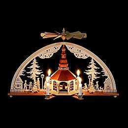 Schwibbogen mit Pyramide und Kerzen Seiffener Kirche  -  51x27cm
