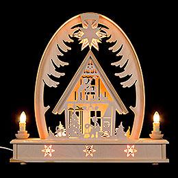 Seidelbogen Weihnachtshaus  -  36cmx37cm