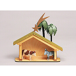 Seiffen Nativity  -  Nativity Stable  -  6 pieces  -  23cm / 9.1 inch