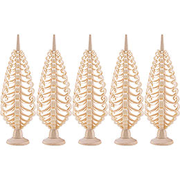 Seiffen Wood Chip Tree Set of 5  -  10cm / 3.9 inch