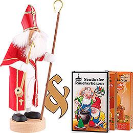 Set Räuchermännchen Heiliger St. Nikolaus und drei Packungen Räucherkerzen