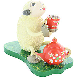 "Sheep ""Muggefugi"", Trinking Coffee  -  5cm / 2 inch"