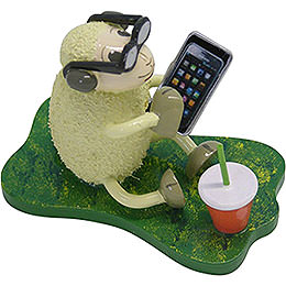 "Sheep ""Smarty"", with Smartphone and Glasses  -  5,5cm / 2.2 inch"