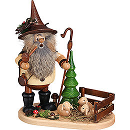 Smoker  -  Forest Gnome Shepherd on Oval Plate  -  26cm / 10.2 inch