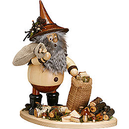 Smoker  -  Forest Gnome on Board: Twig Gatherer  -  26cm / 10 inch