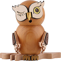 Smoker  -  Owl Stained Wood  -  15cm / 5.9 inch
