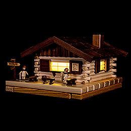Smoking Hut  -  Illuminated Smoker House Skiers  -  17x31cm / 6.7x12.2 inch