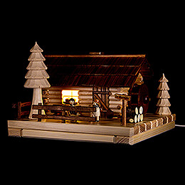 Smoking Lighted House  -  Old Mill with Figurines  -  20cm / 7.9 inch