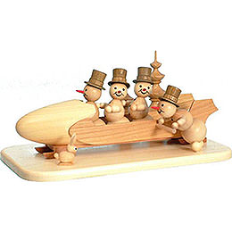 Snowman Four - Man Bobsled with Anschieber with Zylinder  -  13cm / 5.1 inch