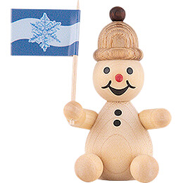 "Snowman  -  Junior ""spectator"" with flag  -  7cm / 2.8 inch"