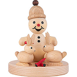 "Snowman  -  Junior ""with rabbits"" sitting  -  7cm / 2.8 inch"