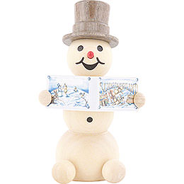 Snowman with Book  -  8cm / 3.1 inch