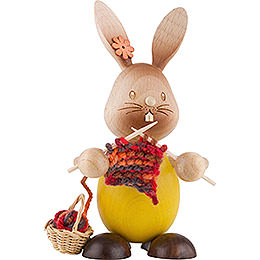 Snubby Bunny with Knitting  -  12cm / 4.7 inch