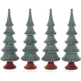 Solid Wood Trees  -  Green  -  4 pieces  -  11cm / 4.3 inch