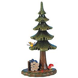 Sommerbaum mit Holzstapel  -  16cm
