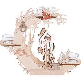 Tea Light Candle Holder  -  Bird House  -  15cm / 6 inch