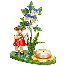 Tea Light Holder Girl with Horned Violet  -  15x17cm / 6x7 inch