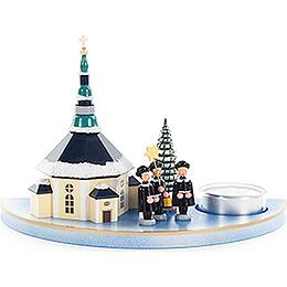 Teelichthalter mit Seiffener Kirche und Kurrende  -  11,5cm
