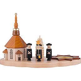 Teelichthalter mit Seiffener Kirche und Kurrende  -  13cm