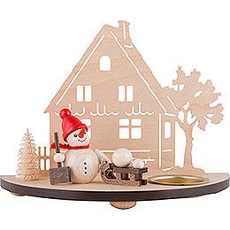 Teelichtleuchter Schneemann  -  rot  -  13cm