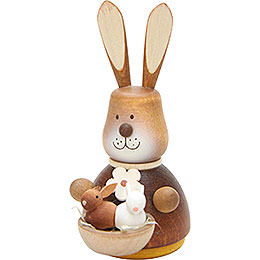 Teeter Bunny with Babies Natural  -  9,8cm / 3.9 inch