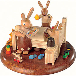 Theme Platform for Electr. Music Box  -  Bunny Bed with Good Night Stories  -  10cm / 4 inch